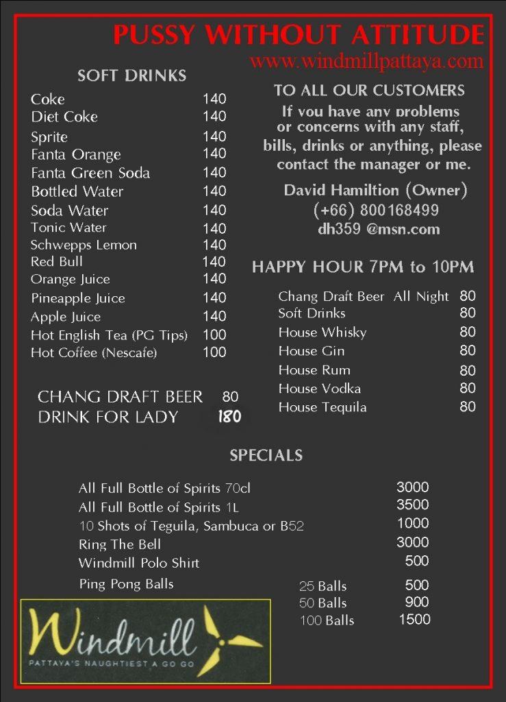 Pattaya Bar Drinks Menu